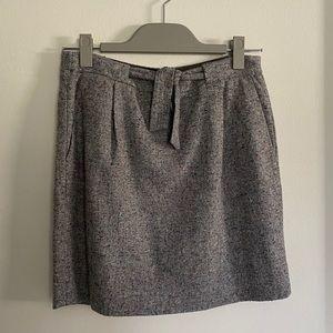 JCrew wool multicolor mini skirt with bow waist